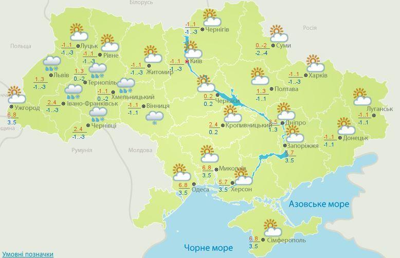 Погода на 8 січня