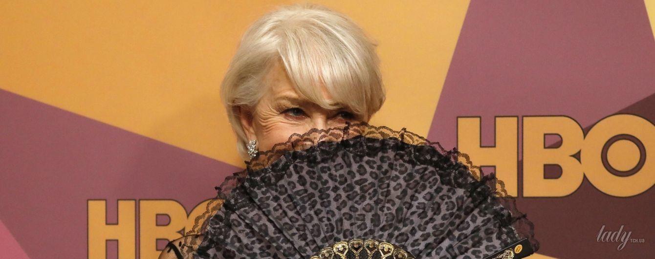 В платье за 7 тысяч долларов и с веером в руке: элегантная 72-летняя Хелен Миррен на афтепати