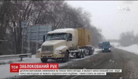 Десятки фур остановились в Запорожье из-за снежных заносов и гололеда