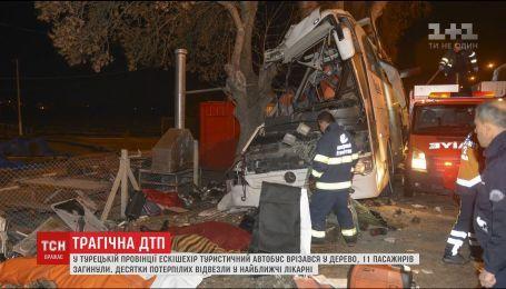 В Турции туристический автобус съехал с дороги и врезался в дерево