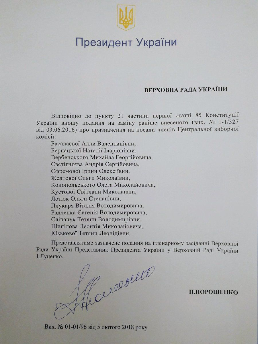подання Порошенко на призначення нових членів ЦВК