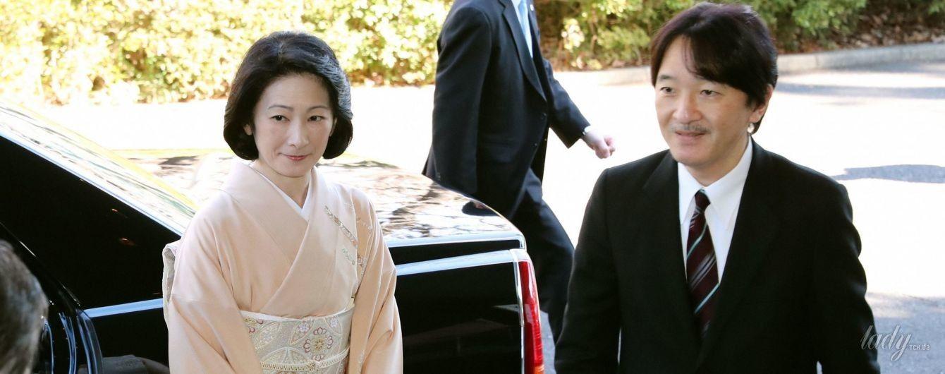 В кимоно бледно-персикового цвета: японская принцесса Кико на торжественном мероприятии