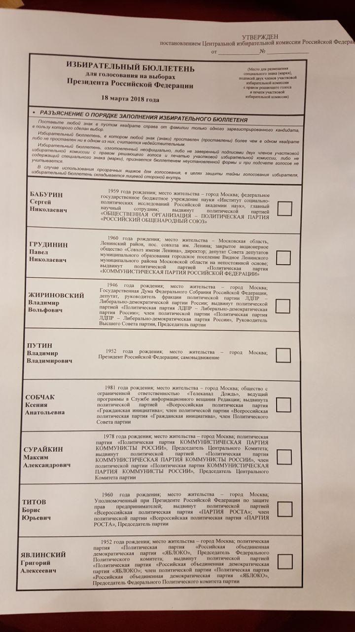 бюлетень виборів рф