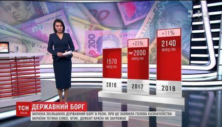 Государственный и гарантированный долг Украины за последние два года вырос почти вдвое