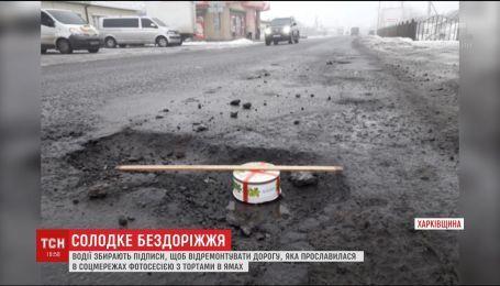 На Харьковщине люди, чтобы привлечь внимание к бездорожью, тортом мерили глубину выбоин