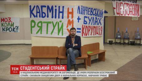 Ланцюги на дверях і коридори в плакатах: студенти медуніверситету продовжують страйк