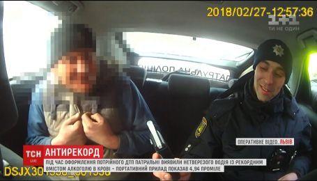 Львівські патрульні затримали водія із рекордним вмістом алкоголю у крові