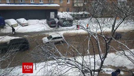 В Киеве произошел масштабный прорыв трубы