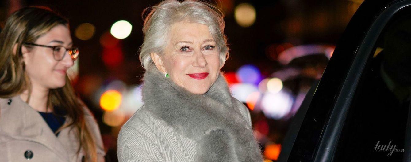 В пальто с меховым воротом и ярком помадой: стильная Хелен Миррен на улицах Нью-Йорка