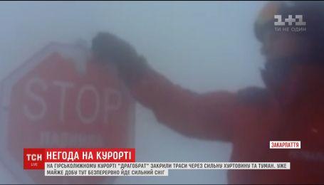Из-за сильной метели и тумана на Драгобрате для безопасности лыжников закрыли трассы