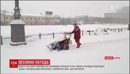 В Харькове постоянно образуются заторы из-за нерасчищенного снега