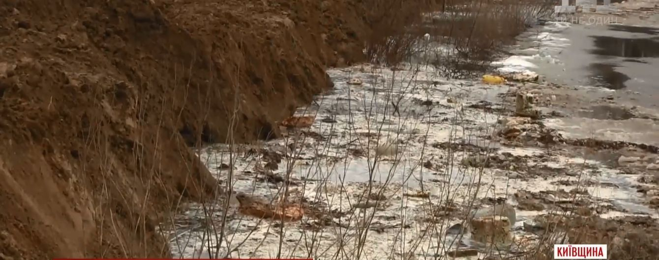 Під Києвом отруйна вода зі звалища потрапила у річку, що впадає в Дніпро