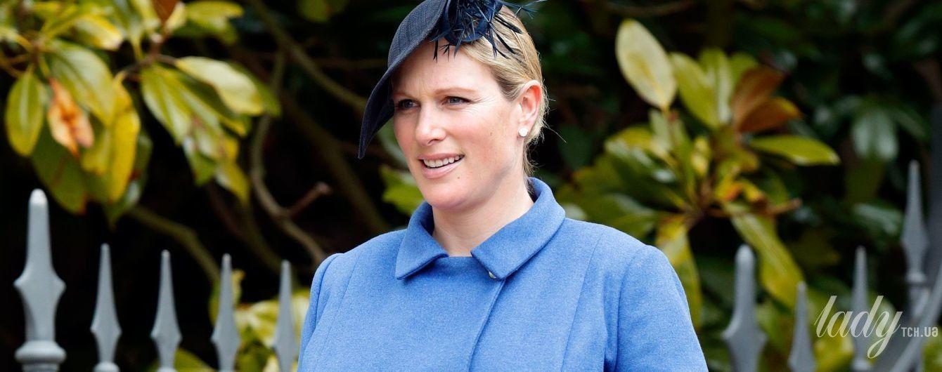 В красивом наряде и рваных колготках: беременная Зара Тиндолл на службе в Виндзоре