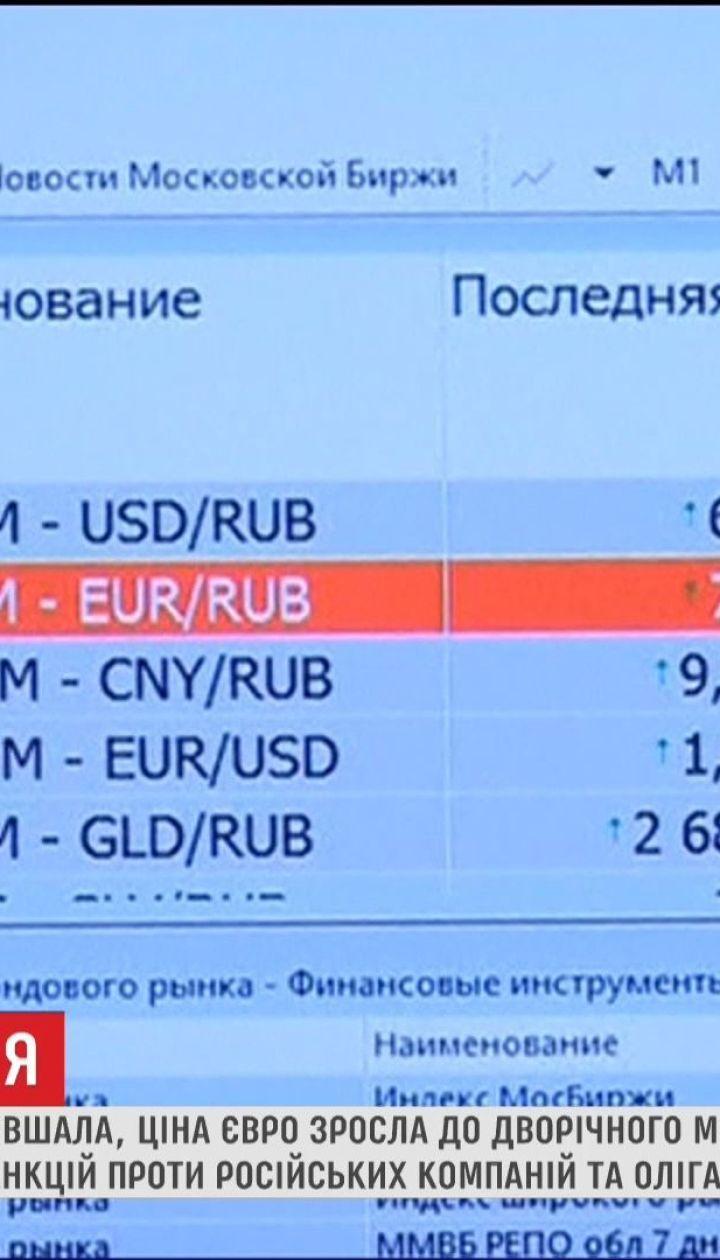 Рекордне падіння: на московській біржі курс євро вперше за два роки перевищив 80 рублів