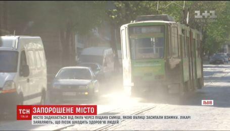 Львів задихається від пилу через піщану суміш, якою взимку посипали вулиці