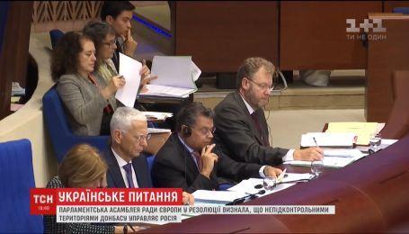 ПАРЄ визнала, що Росія фактично управляє непідконтрольними територіями Донбасу