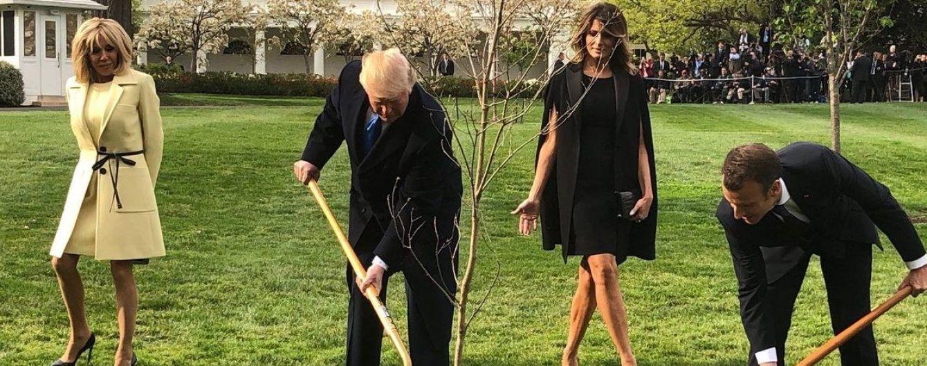 Сброшенная перхоть и посаженное дерево: в Вашингтоне продолжается исторический визит Макрона к Трампу