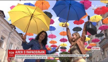 На пішохідній вулиці Житомира повісили майже двісті парасольок