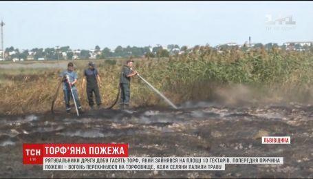 Возле Львова вторые сутки не могут потушить торф