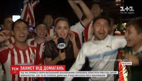 В Мексике журналистка в прямом эфире побила мужчину, который рукой залез ей под платье