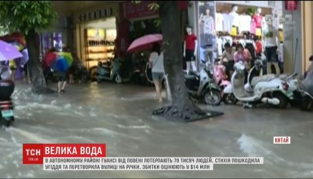 Наводнение в Китае затопило улицы и дома людей