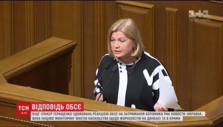 Ірину Геращенко здивувала реакція ОБСЄ на затримання Кирила Вишинського