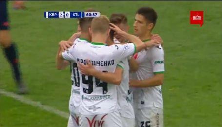 Карпаты - Сталь - 2:0. Видео гола Мякушко