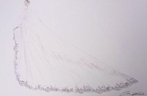 Эскиз свадебного платья Меган Маркл_2