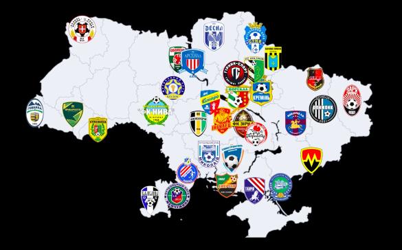 футбольна карта клубів підозрюваних у договірняках
