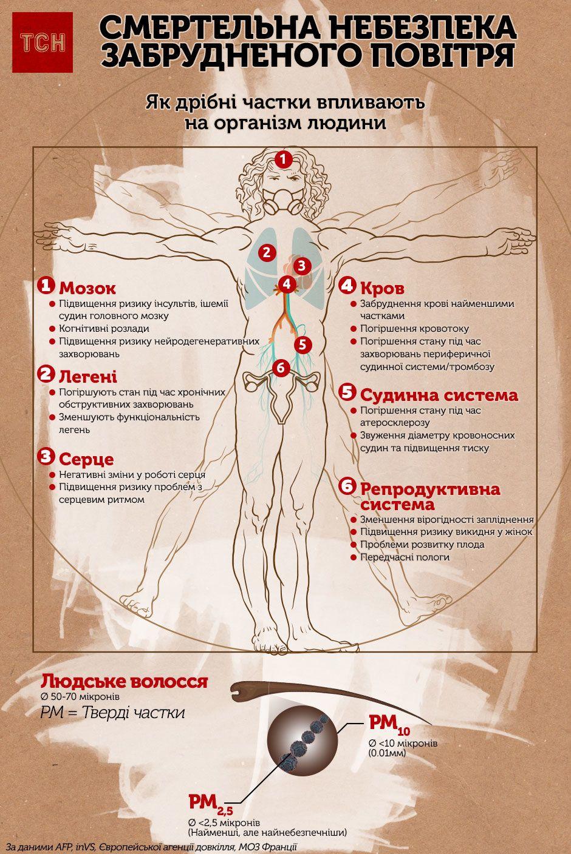 смертельна небезпека забрудненого повітря, інфографіка