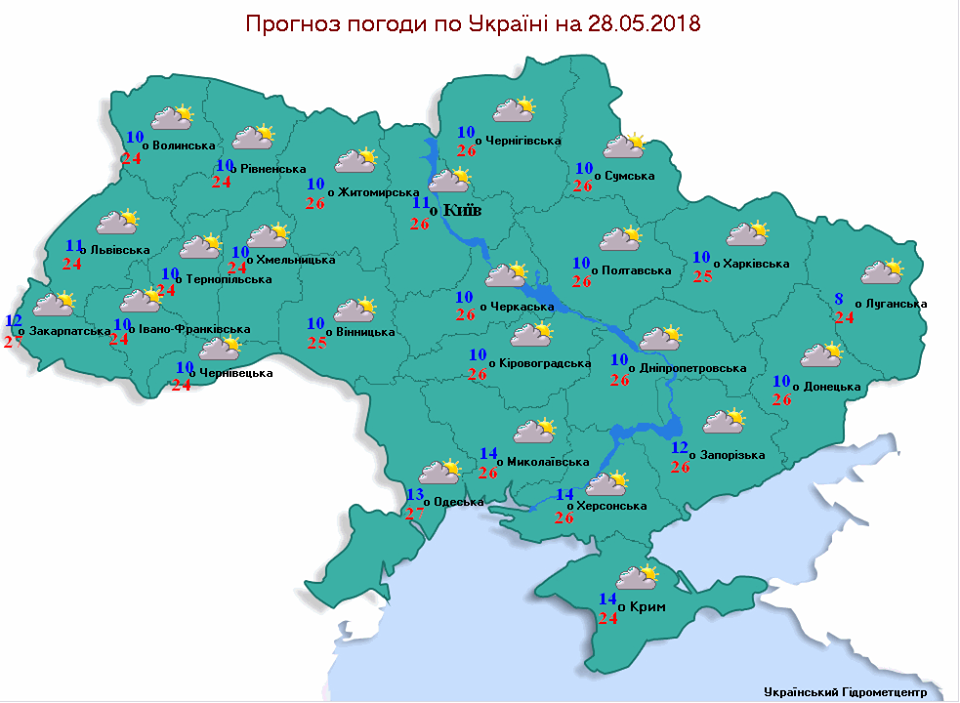 Прогноз погоди на 28 травня