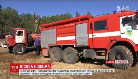 На Херсонщине третьи сутки ликвидируют масштабный лесной пожар