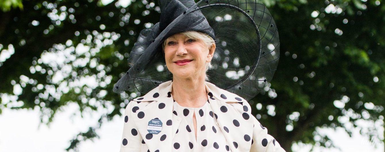 В платье в горох и эффектной шляпе: 72-летняя Хелен Миррен посетила конный турнир