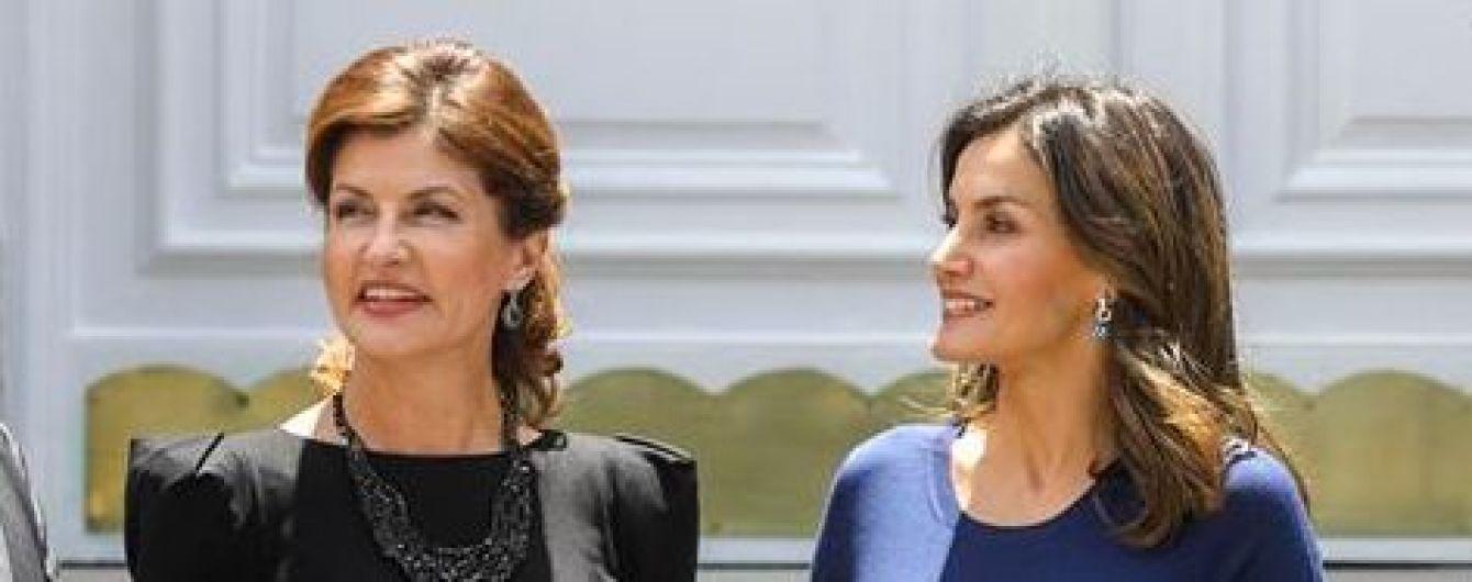 Какая встреча: Марина Порошенко в элегантном платье, королева Летиция в юбке с цветочным принтом