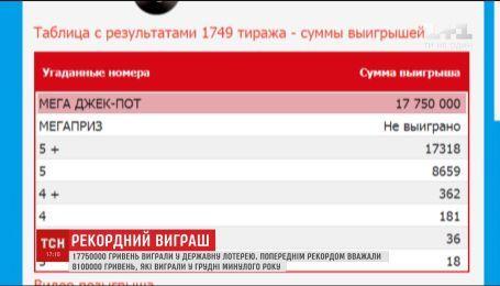 Неизвестный счастливчик с Катеринополя выиграл почти 18 миллионов гривен в государственной лотерее