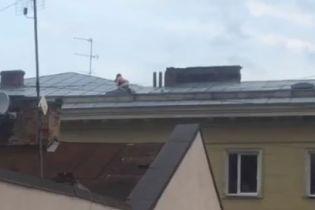 У центрі Львова зняли на відео пристрасну парочку, яка займалась сексом на даху багатоповерхівки