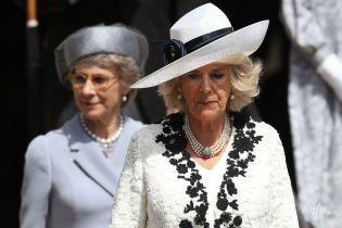 В белом платье и эффектном жакете: герцогиня Корнуольская Камилла на вручении Ордена Подвязки