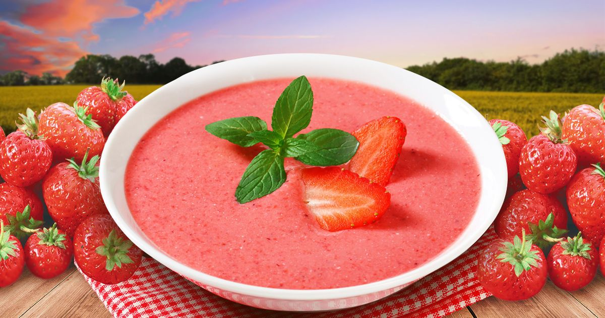 Холодный клубничный суп за 5 минут