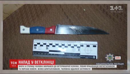 П'яний чоловік скоїв напад на ветеринарну клініку та ганявся з ножем за лікаркою