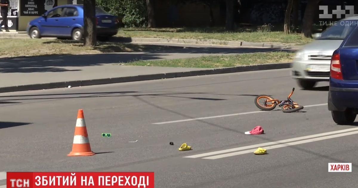 В Харькове женщина-водитель не заметила на переходе 4-летнего велосипедиста