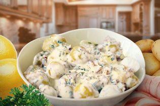 Молода картопля у вершковому соусі з шинкою
