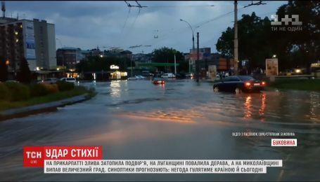 Непогода выкорчевала деревья и затопила улицы украинских городов