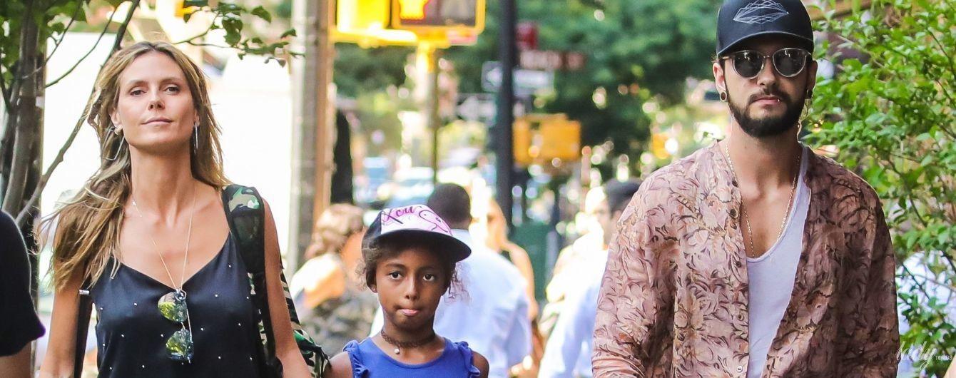Сімейна прогулянка: Гайді Клум з дочкою і бойфрендом в об'єктивах папараці