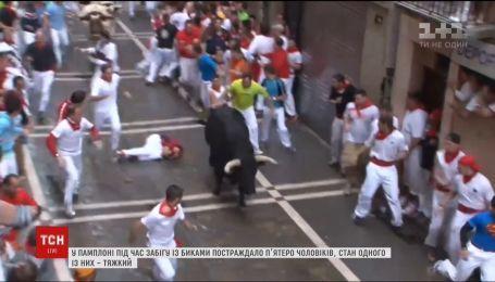 В Испании во время забега с разъяренными быками получили травмы пятеро мужчин