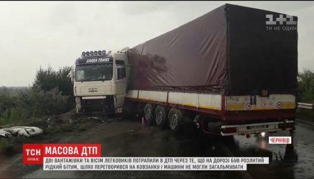 Из-за жидкого битума на дороге под Черновцами в ДТП попали сразу 10 автомобилей