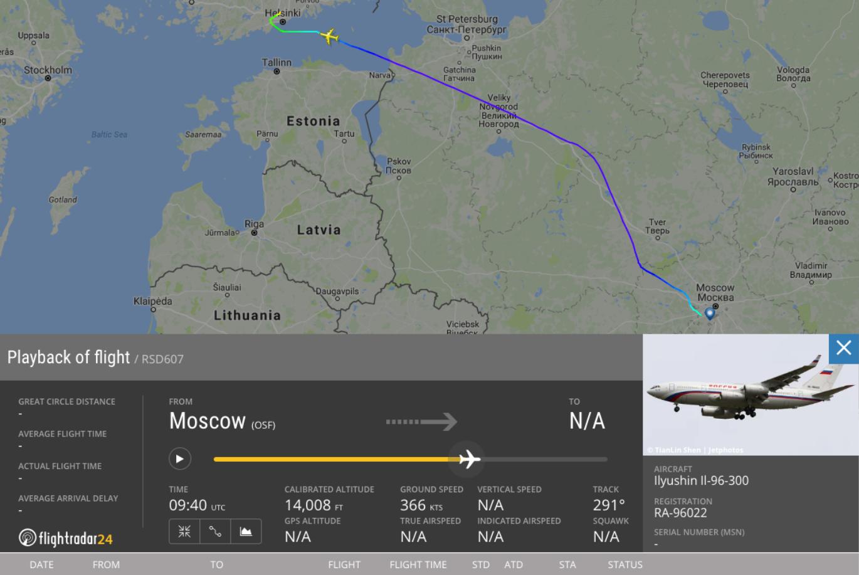 Шлях літака Путіна