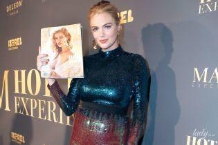 Сходила на вечеринку: Кейт Аптон подчеркнула беременный живот блестящим обтягивающим платьем