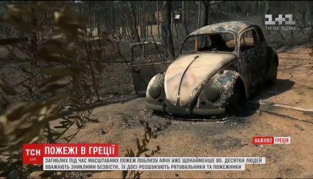 Зросла кількість загиблих під час масштабних лісових пожеж поблизу Афін