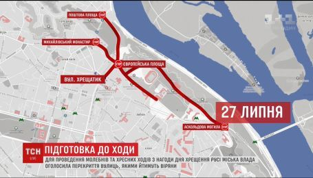 Центр Києва перекриють у зв'язку з проведенням хресного ходу
