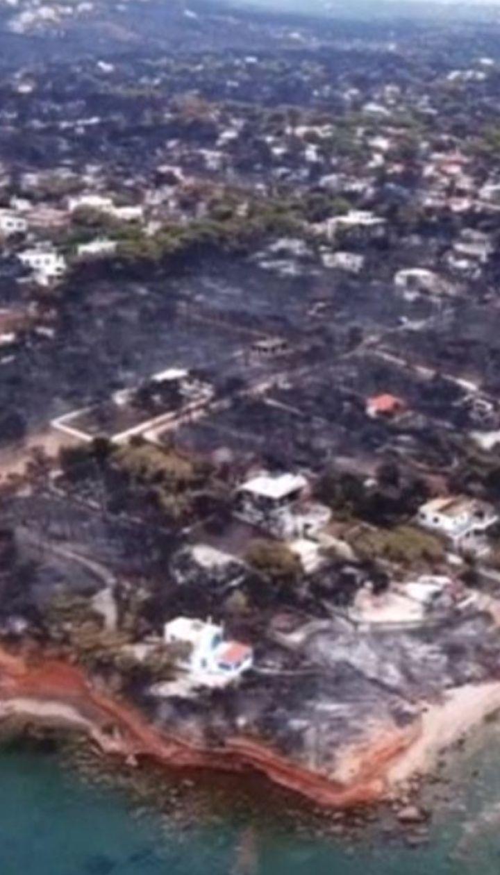 Видео с дрона: последствия лесных пожаров в Греции